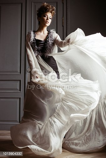 istock Fashionable female portrait of cute lady in dress indoors 1013904332
