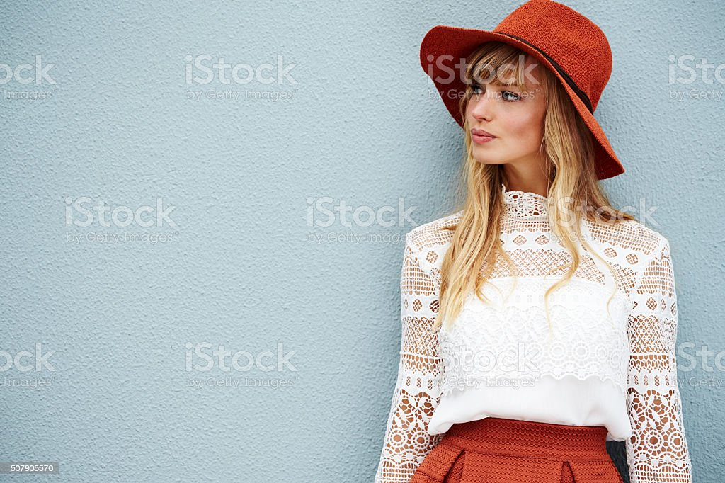 Fashionable fox looking away stock photo