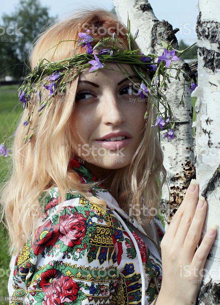 fashionable girl birch royalty-free stock photo