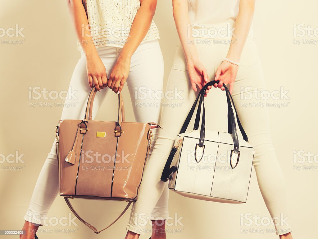 Fashionable girls with bags handbags. stock photo