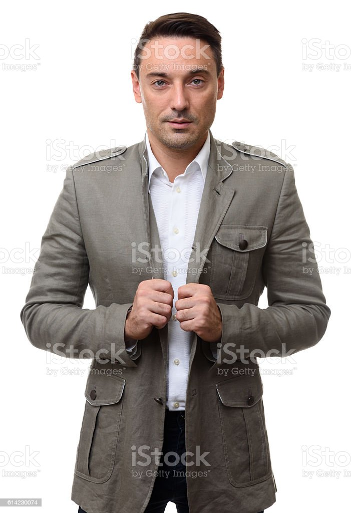 fashionable handsome man looking at camera stock photo