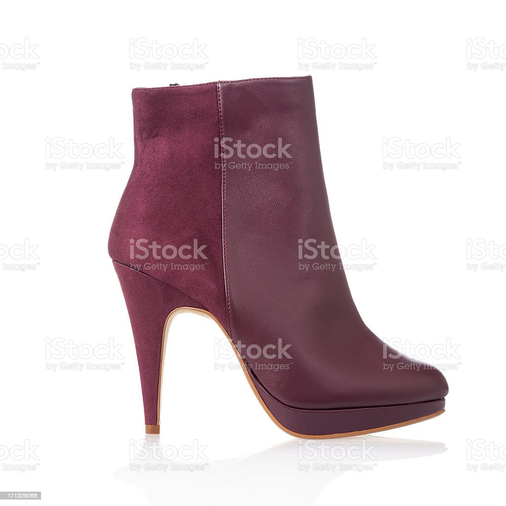Fashionable high heels ankle boot stock photo