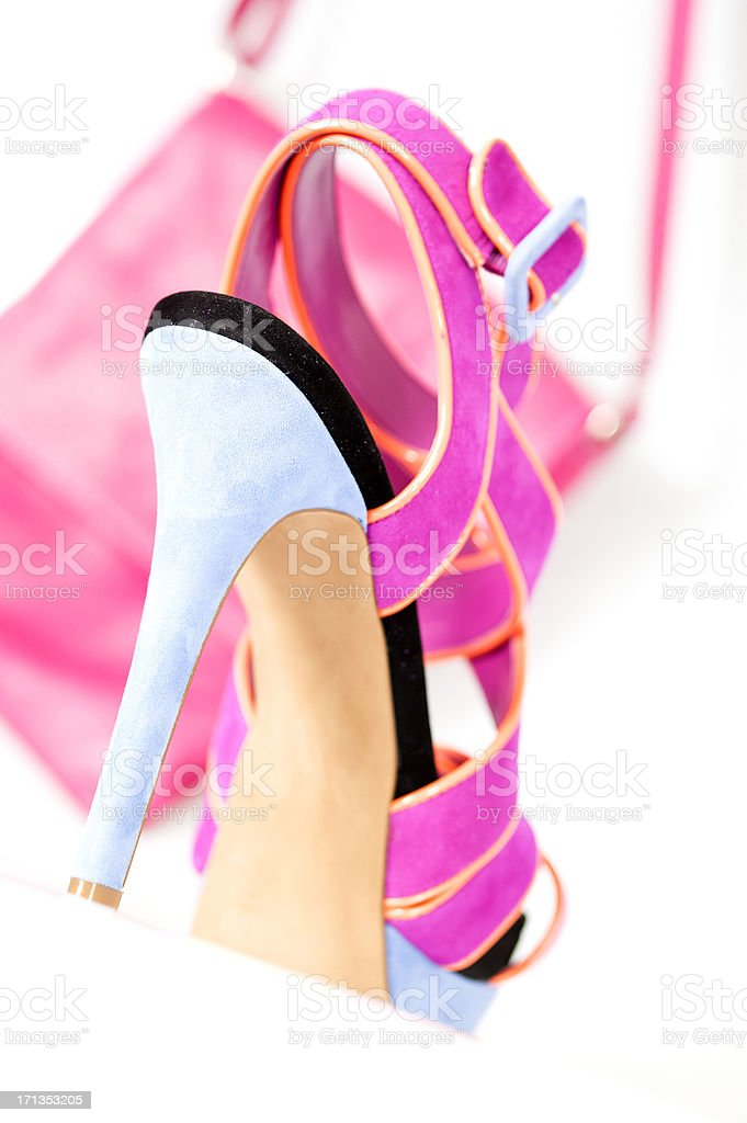Fashionable High Heels sandal in fancy colors with matching handbag royalty-free stock photo