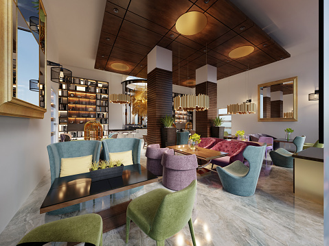 Fashionable In Modern Style Librarybar In Art Deco Style With Elegant Furniture And Bookcases Stock Photo Download Image Now Istock