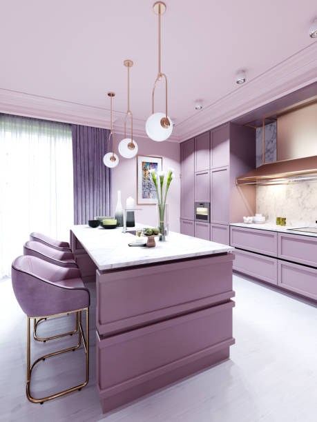 Fashionable kitchen in a trend style lilac color furniture and modern design.