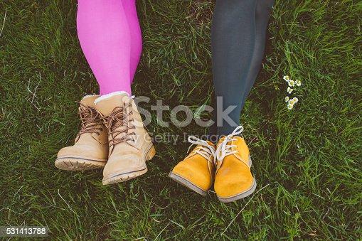 833314292istockphoto Fashionable ladies' shoes on grass with Daisy detail 531413788