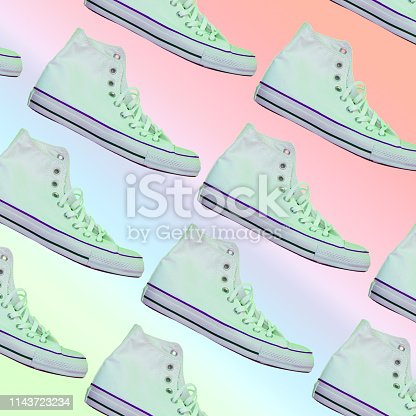 1125575814 istock photo fashionable light green sneakers. Awesome pattern on rainbow gradient background 1143723234