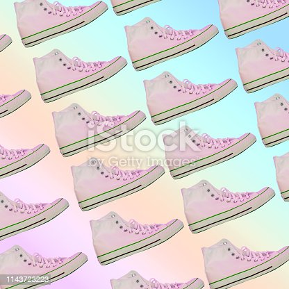 1125575814 istock photo fashionable light pink sneakers. Awesome pattern on rainbow gradient background 1143723223