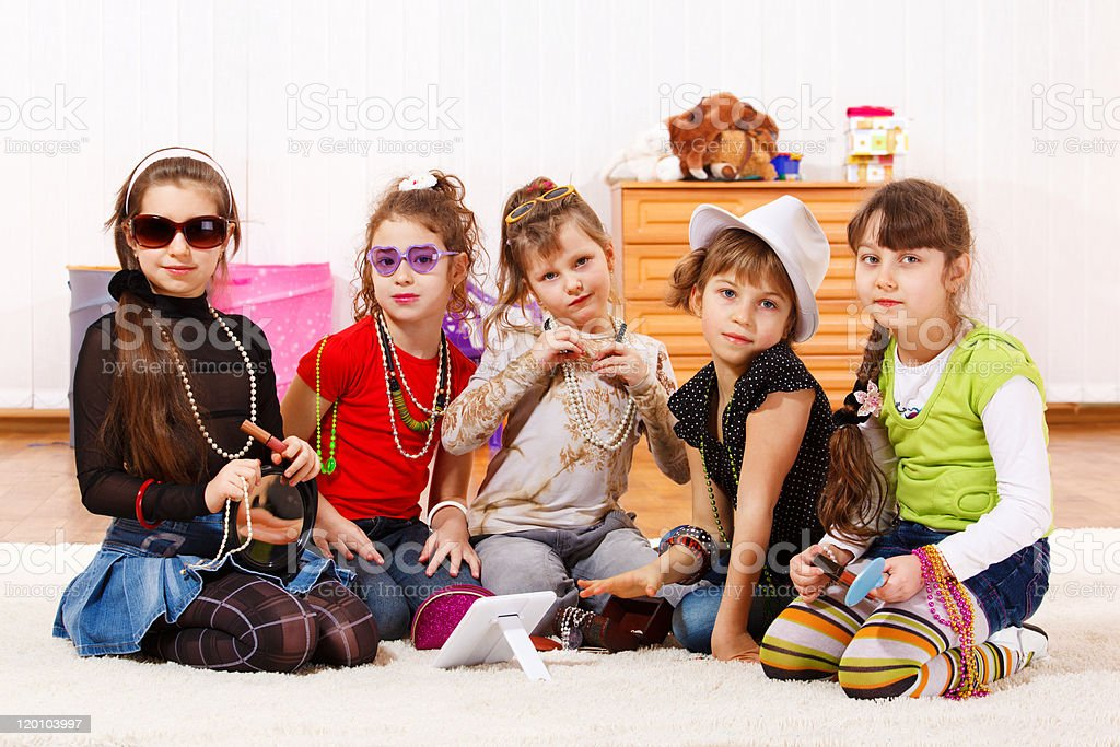 Fashionable little girls royalty-free stock photo