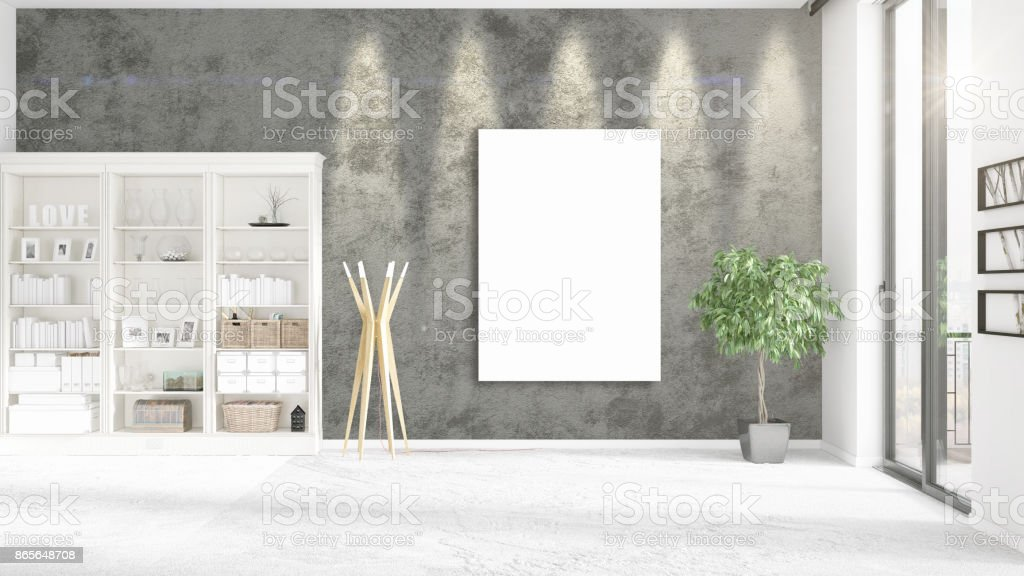 Fashionable loft interior with empty frame, copyspace, nobody and panoramic view in horizontal arrangement. 3D rendering stock photo