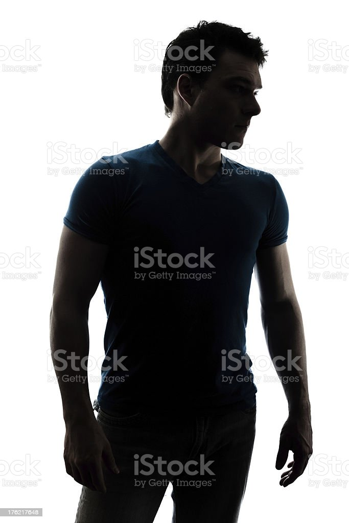 Fashionable male figure in silhouette stock photo