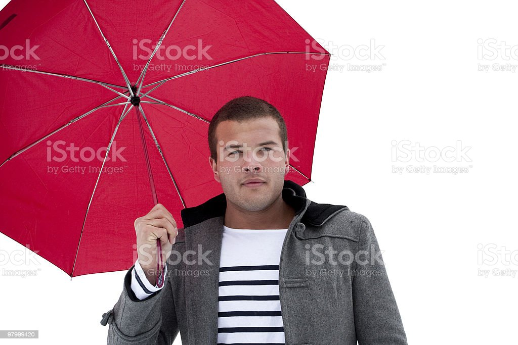 Fashionable Male under an umbrella royalty-free stock photo