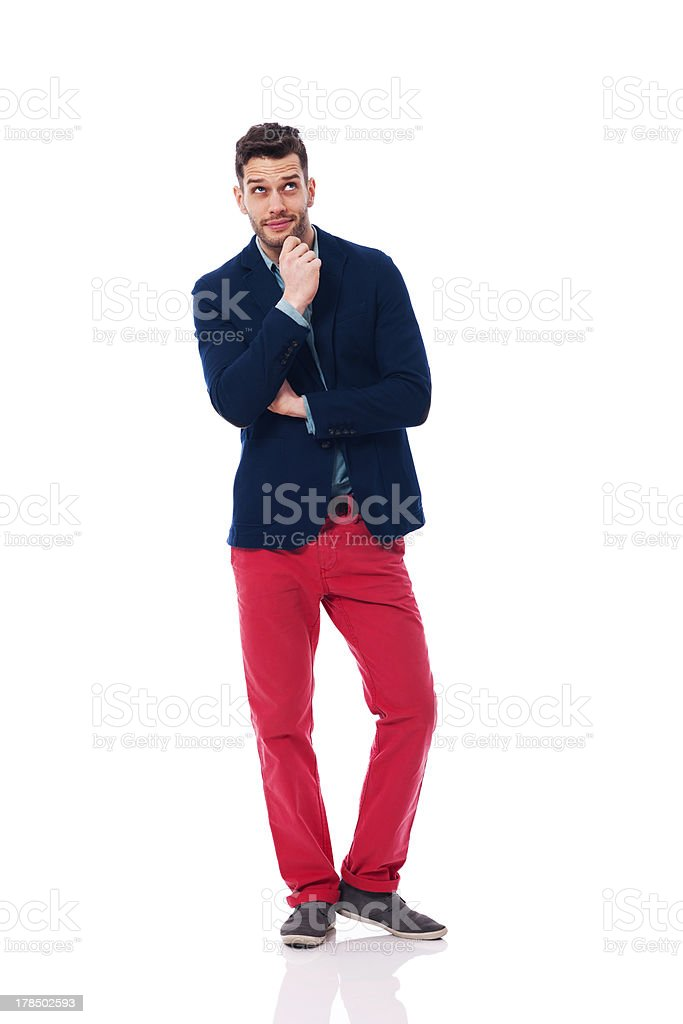 Fashionable man looking up royalty-free stock photo