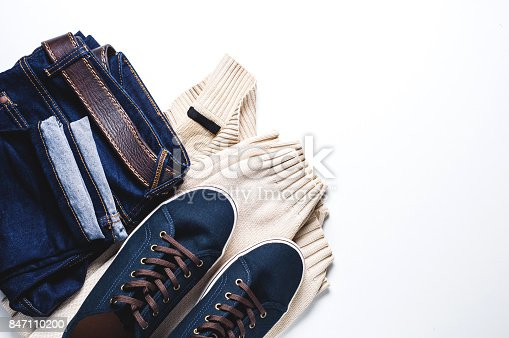 917262406istockphoto Fashionable men's clothing. Jeans and shoes on light background 847110200