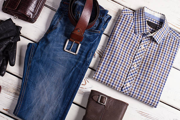 fashionable men's clothing. - menswear stock photos and pictures