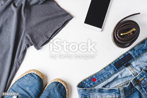 917262406istockphoto Fashionable men's clothing. Streetwear and accessories 833000610