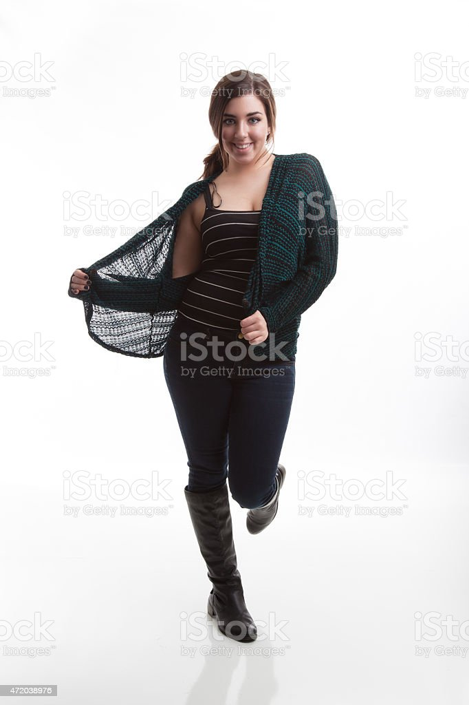 Fashionable Model Wearing Fall Style Open Sweater with White Background stock photo