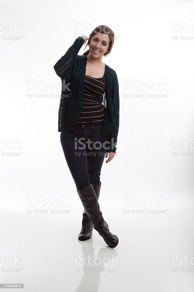 Fashionable Model Wearing Fall Styles with White Background stock photo