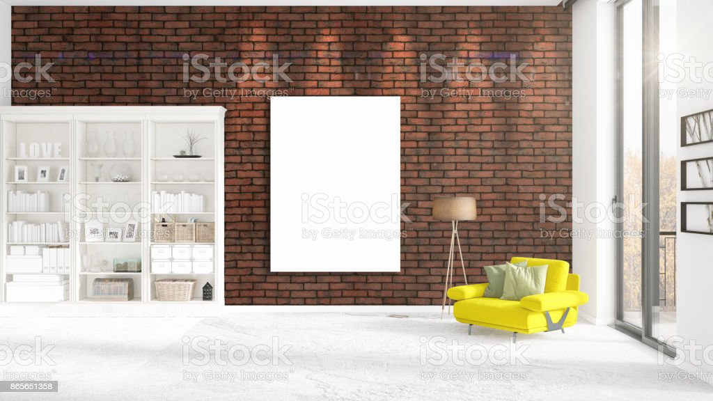 Fashionable modern interior with yellow recliner and empty frame and copyspace in vertical arrangement. 3D rendering. stock photo