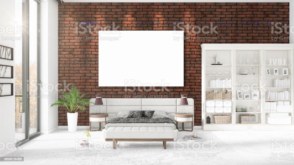 Fotografía de Interior Moda Moderno Loft Con Marco Vacío Y Copyspace ...