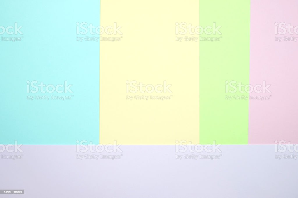 Fashionable  pastel colored paper flat lay top view, geometric background texture, pink, purple, yellow, beige, green and blue. zbiór zdjęć royalty-free