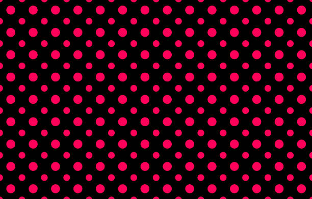 Fashionable Pattern With Two Different Sizes Pink Polka Dots Against A Black Background Stock Photo