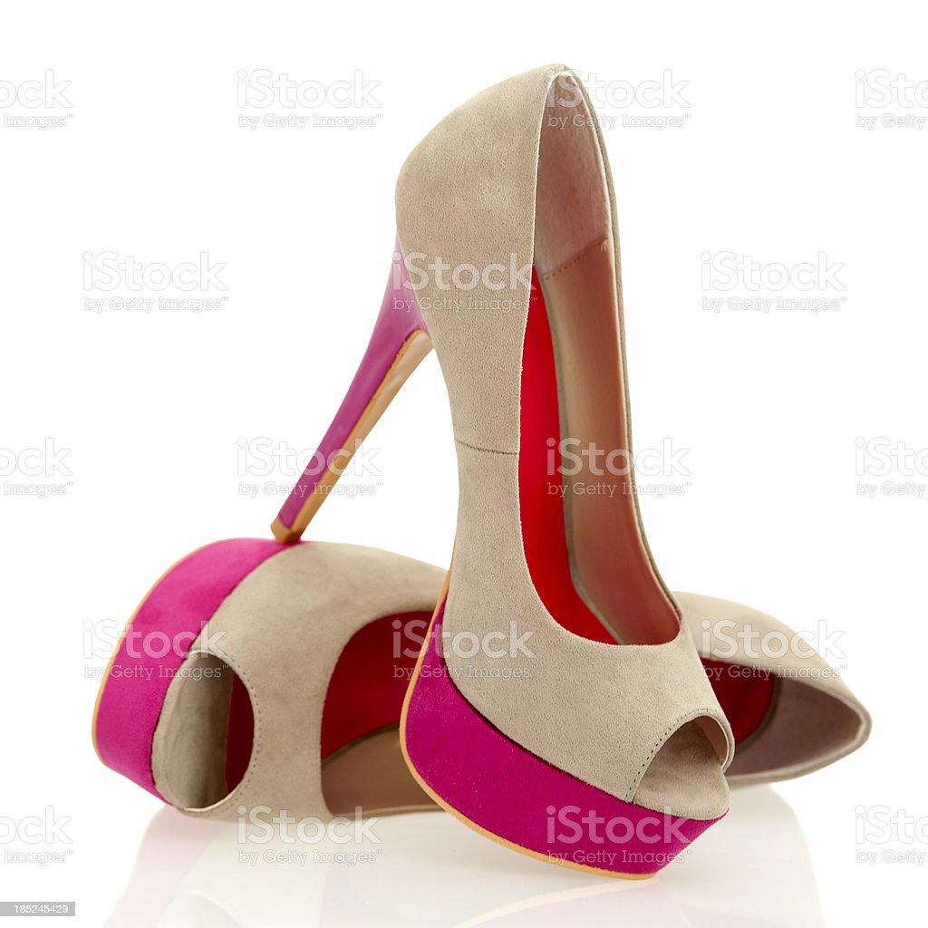 Fashionable Peeptoe High Heels in fancy colors stock photo