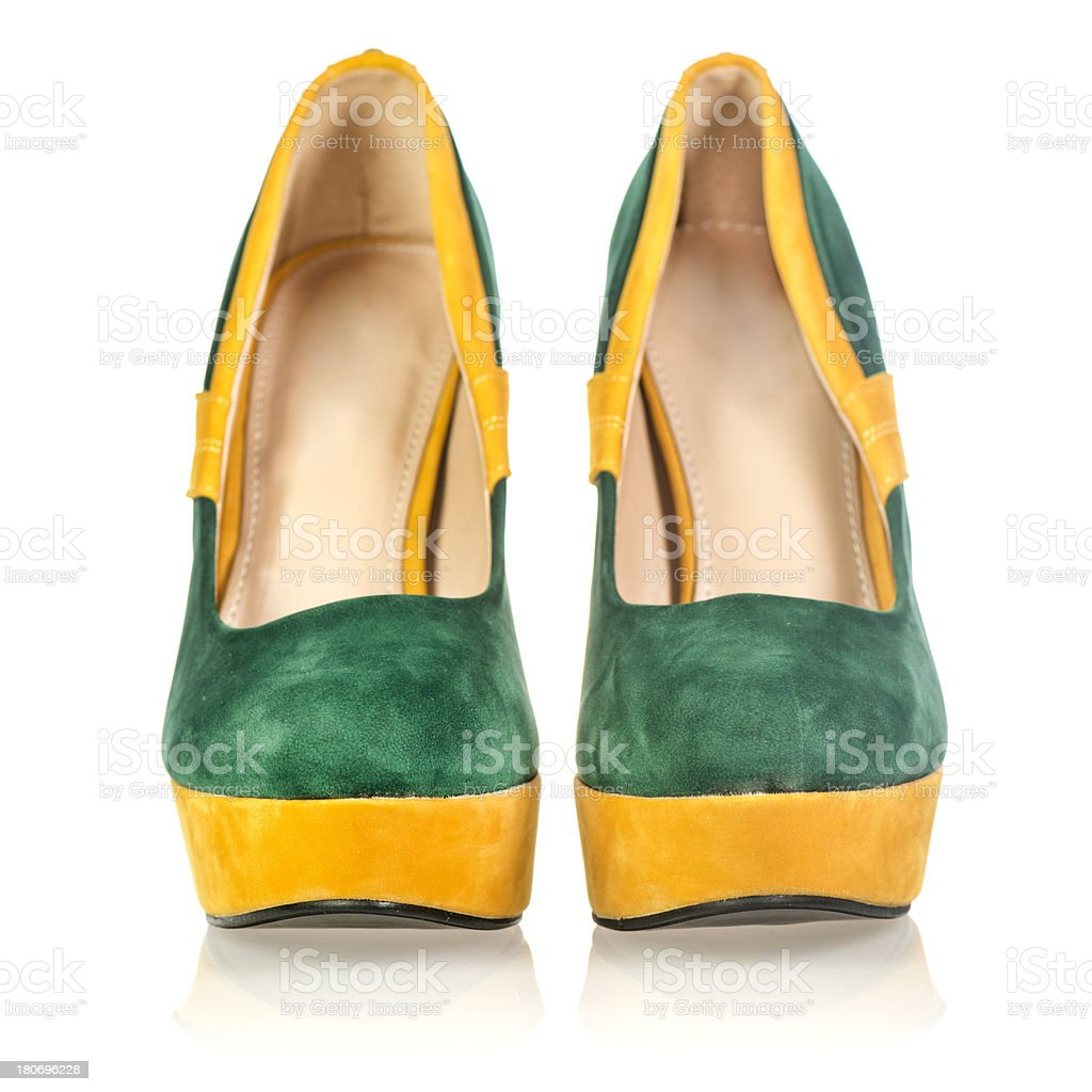 Fashionable platform High Heels in fancy colors royalty-free stock photo