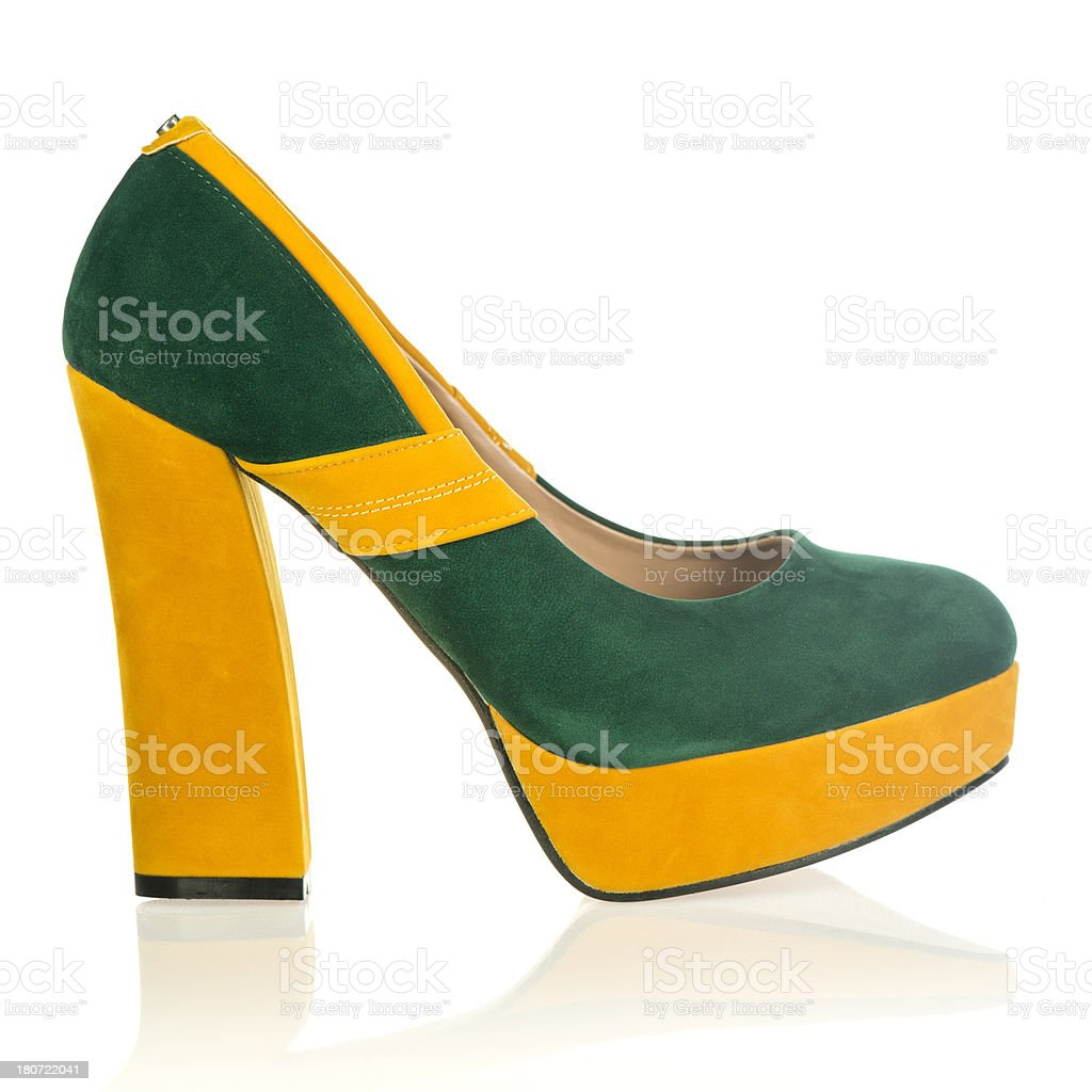 Fashionable platform High Heels in fancy colors stock photo