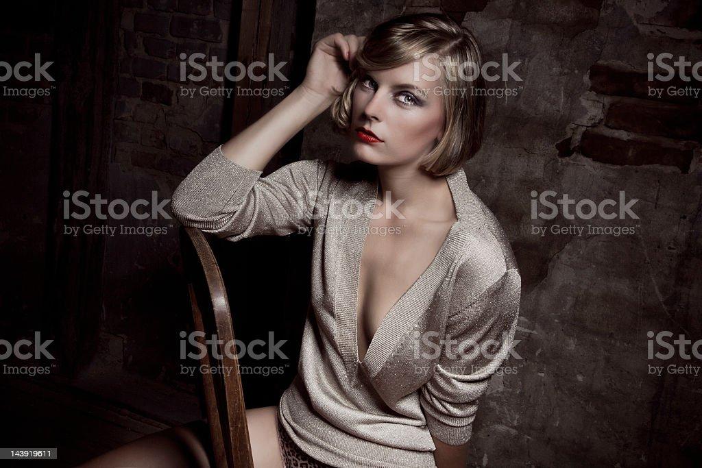 fashionable portrait of a beautiful woman royalty-free stock photo