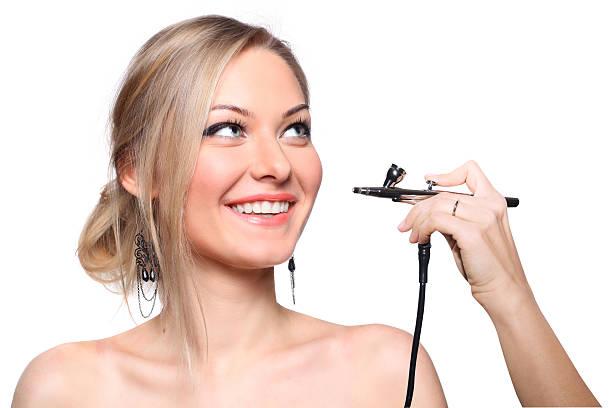 fashionable portrait of a girl model - airbrush make up stock-fotos und bilder