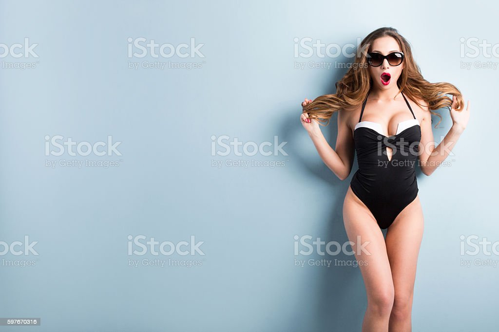Fashionable Portrait of a smiling Sexy brunette. stock photo