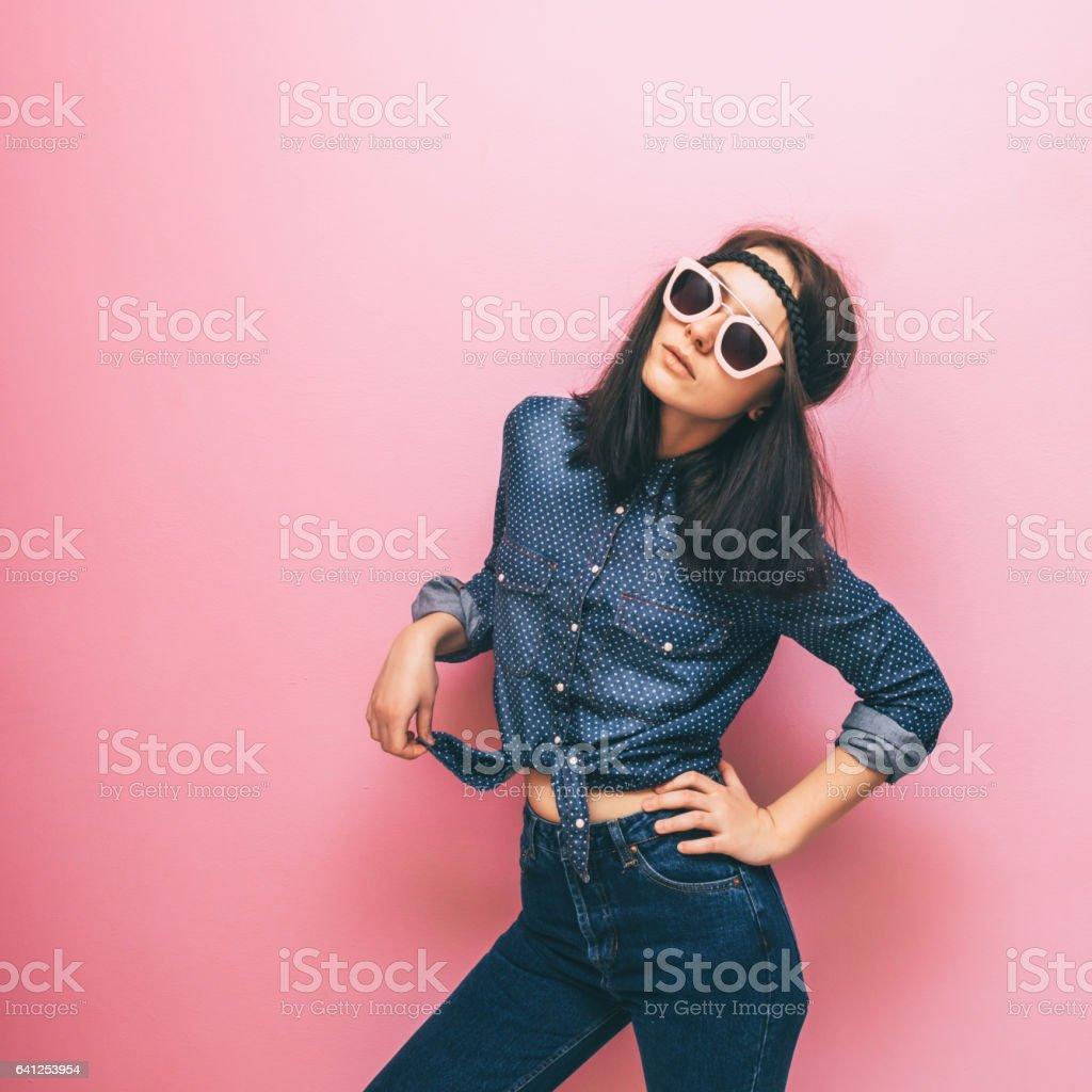 fashionable pose of  woman stock photo