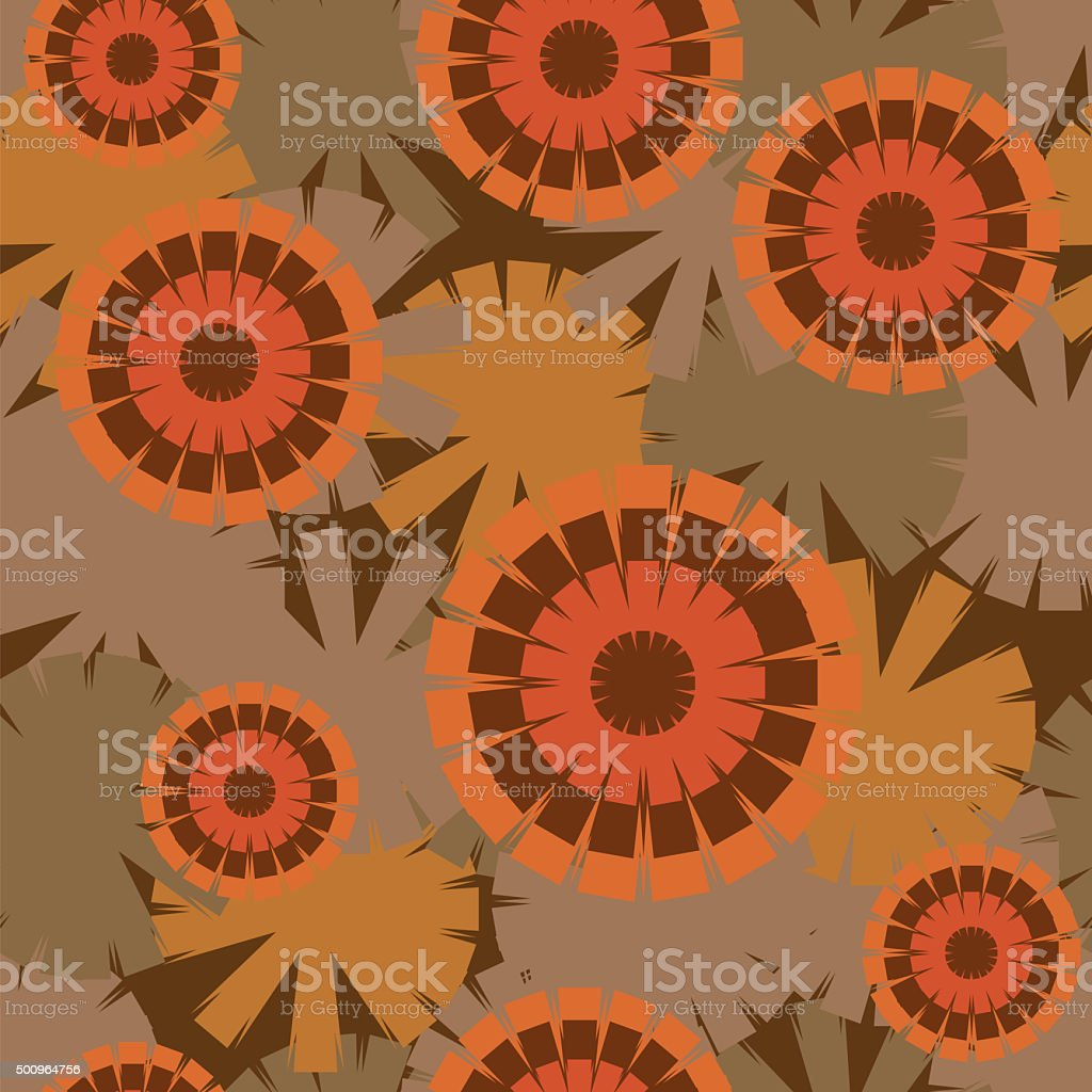 Fashionable seamless pattern of psychedelic sunflowers stock photo
