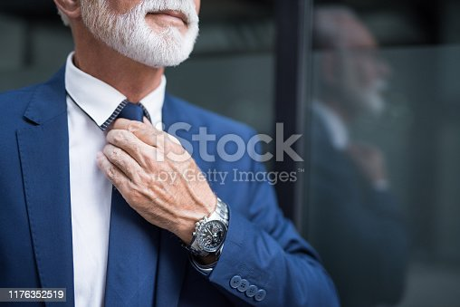 973213156 istock photo Fashionable senior man adjusting a tie. 1176352519