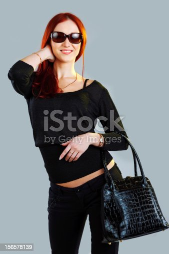 istock Fashionable shopping girl in sunglasses 156578139