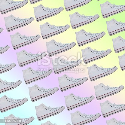 1125575814 istock photo fashionable sneakers. Awesome pattern on rainbow gradient background 1143723225