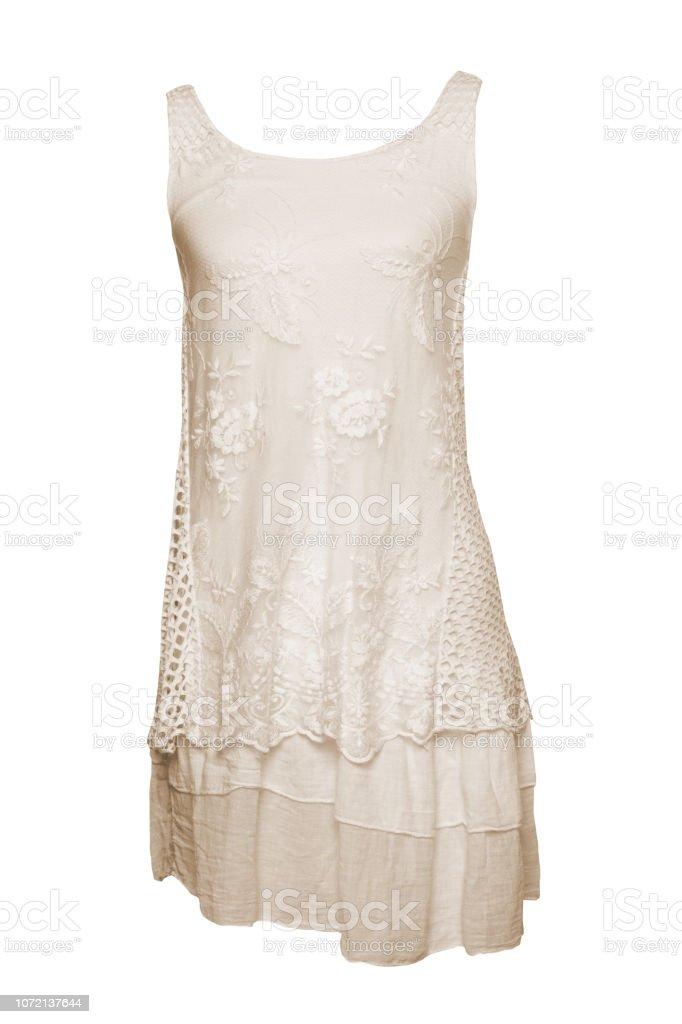 Ropa De Moda Verano Aislada Sobre Fondo Blanco Vestido De Verano Color Beige Vestido Verano Sin Mangas Encaje Y Elegante Colorido Aislada Sobre Fondo