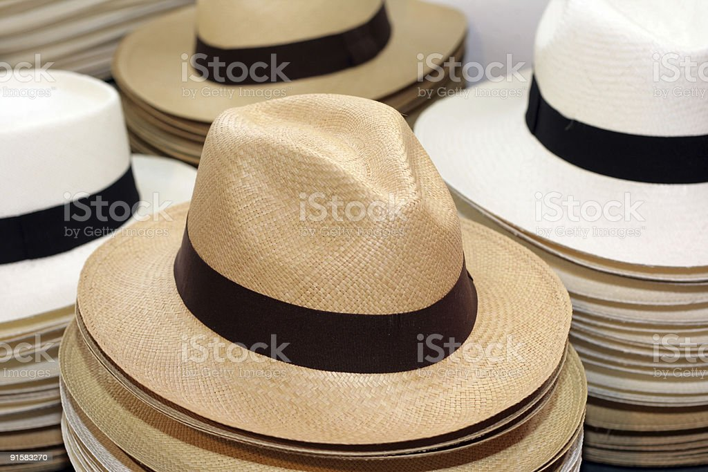 fashionable summer Panama straw hat stock photo