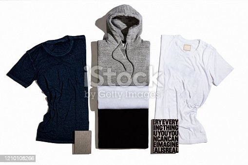 Fashionable sweatshirts and t-shirts isolated on white background(with clipping path)