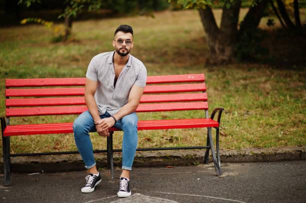 Fashionable tall arab beard man stock photo