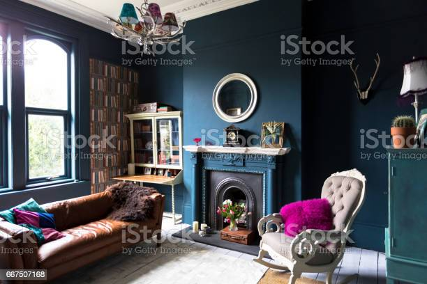 Fashionable Vintage Styled Living Room Stock Photo - Download Image Now