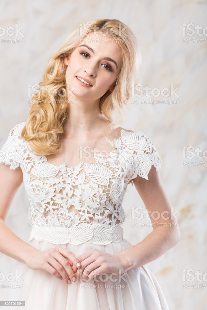 Fashionable Wedding Dress Beautiful Blonde Model Bride Hairstyle And