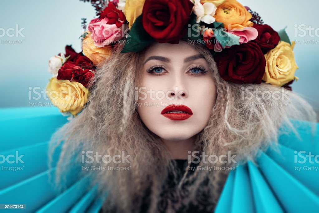 fashionable with her flower tiara stock photo