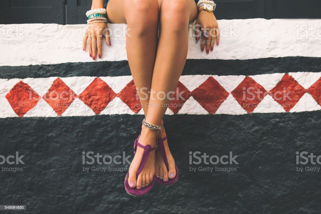 Fashionable woman enjoying outdoors. stock photo