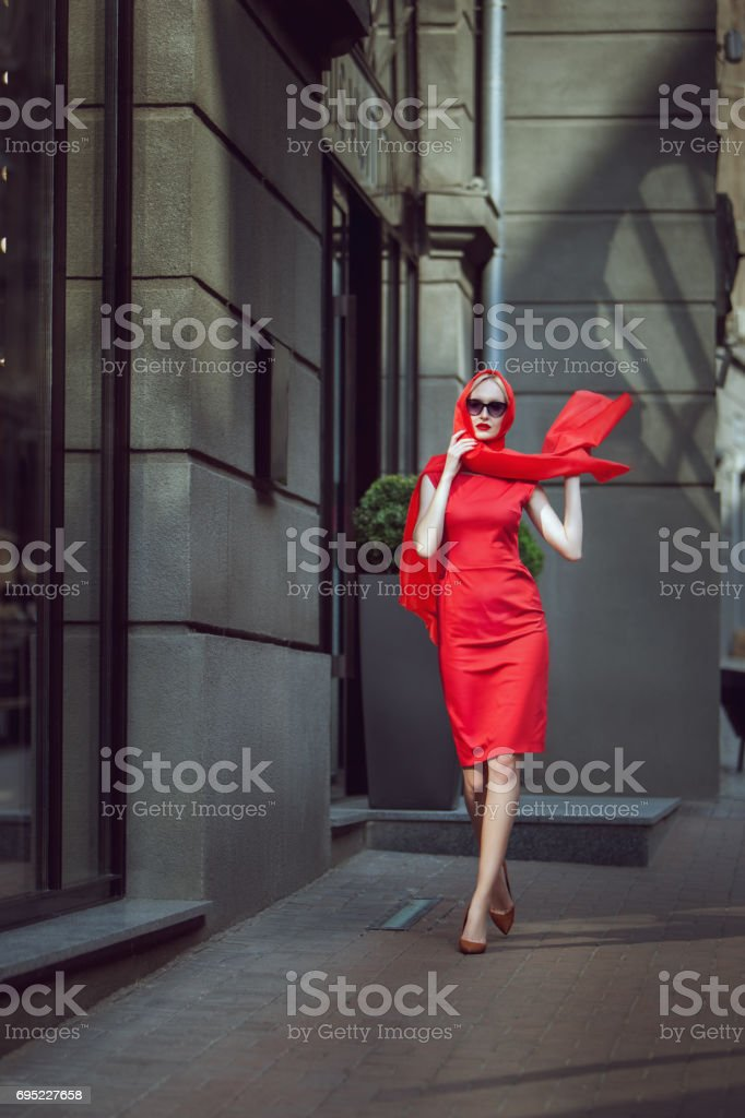 Fashionable woman in a red dress. stock photo