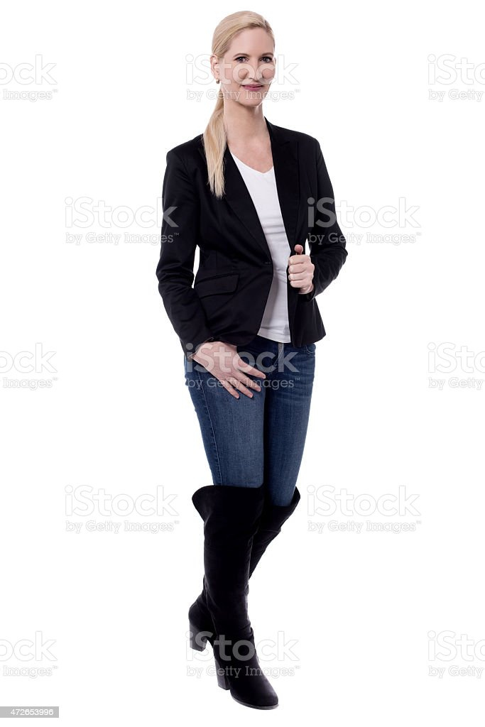 Fashionable woman in boots. royalty-free stock photo