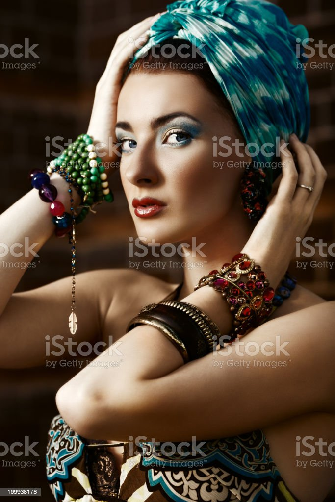 fashionable woman in head scarf stock photo
