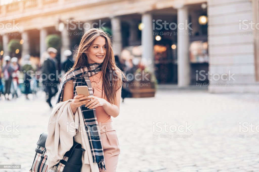 Fashionable woman in London city stock photo