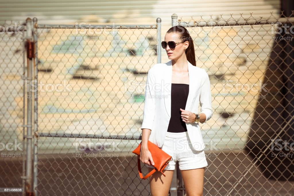 Fashionable woman in the city stock photo